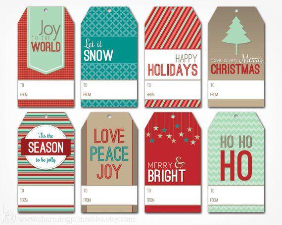 Printable Christmas Gift Tags Digital PDF File Instant