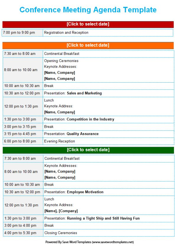 Conference Agenda Template - Save Word Templates