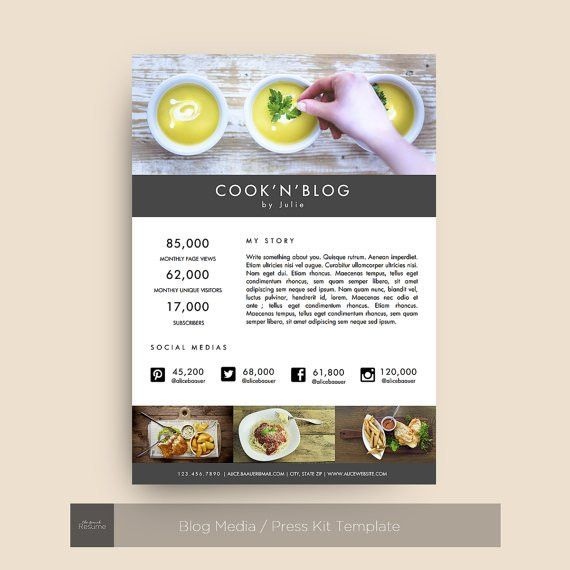 Blog Media / Press Kit Template for MS Word by TheFrenchResume ...