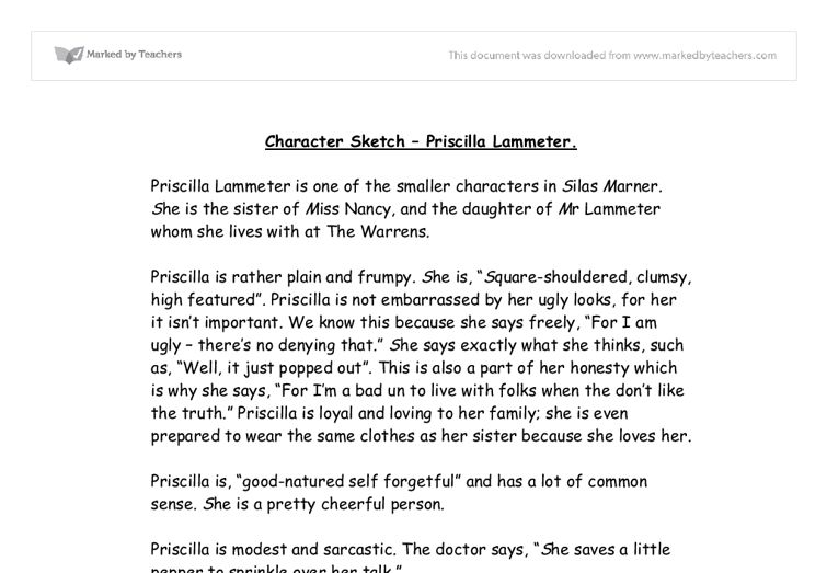 Character Sketch - Priscilla Lammeter. - GCSE English - Marked by ...