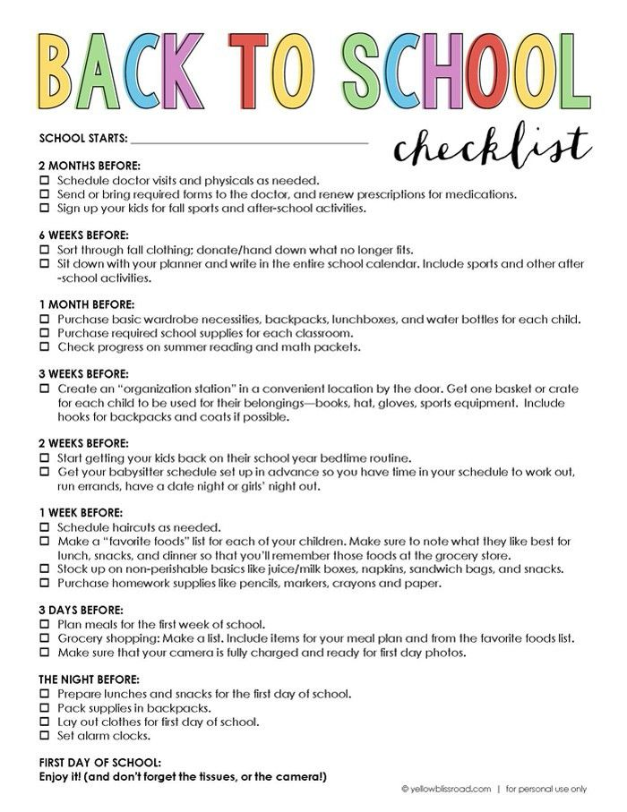 Free Printable Back to School Checklist | School checklist, School ...