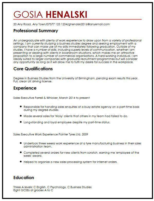 CV Sample for University Students | MyperfectCV