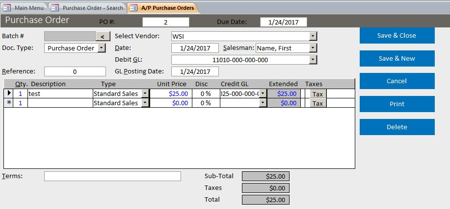 Microsoft Access Basic Business Purchase Order Template Database
