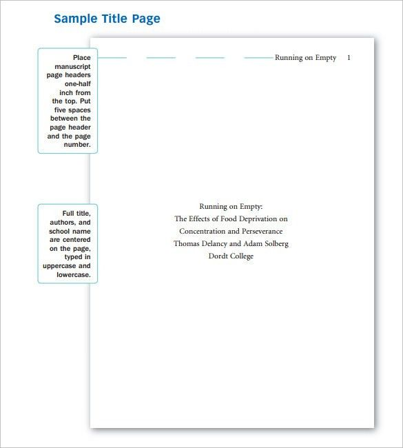 Sample APA Cover Page Template - 9+ Free Documents In PDF