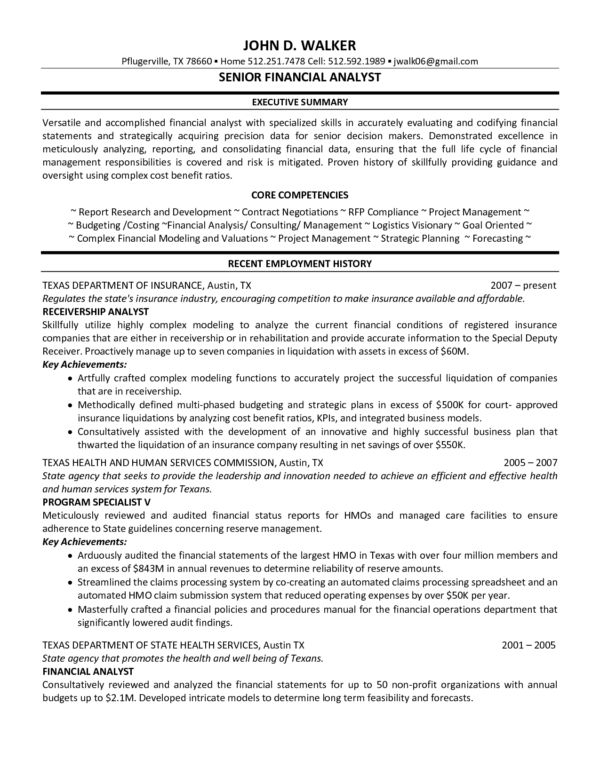 Stunning Senior Financial Analyst Resume Example with Executive ...