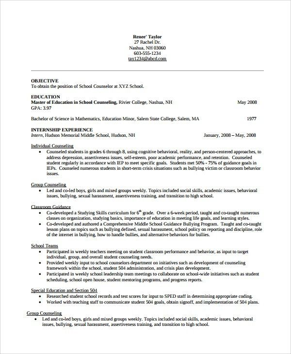 college counselor resume
