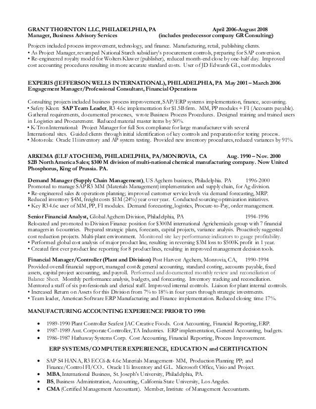 D Norris resume Feb 2 2016 Finance and Cost Accounting Manager