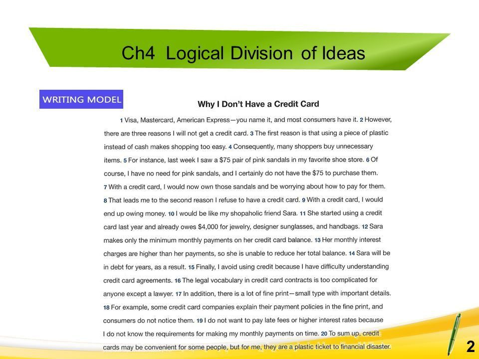 Ch4 Logical Division of Ideas A. Match the words in Column A with ...