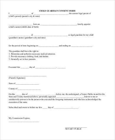 Legal Guardianship Form. Printable Guardianship Form Sample ...