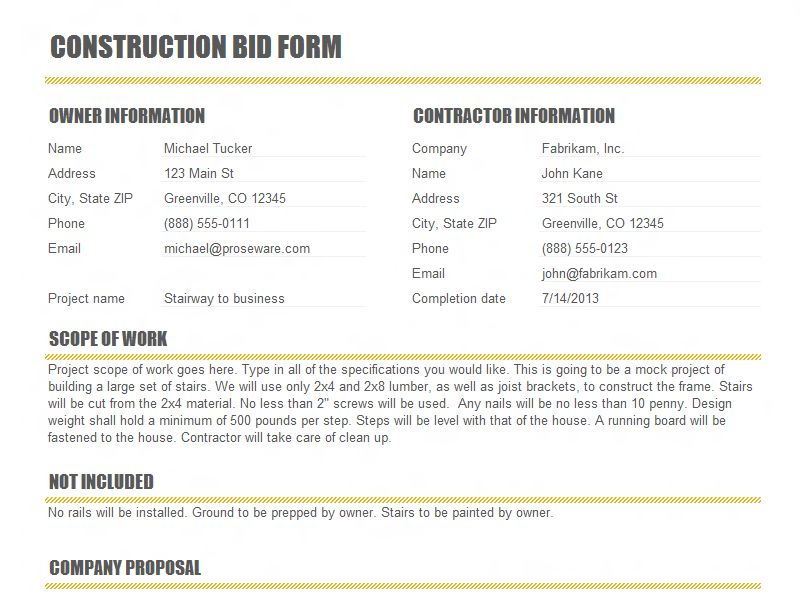 Construction Proposal Templates | Open Door Construction