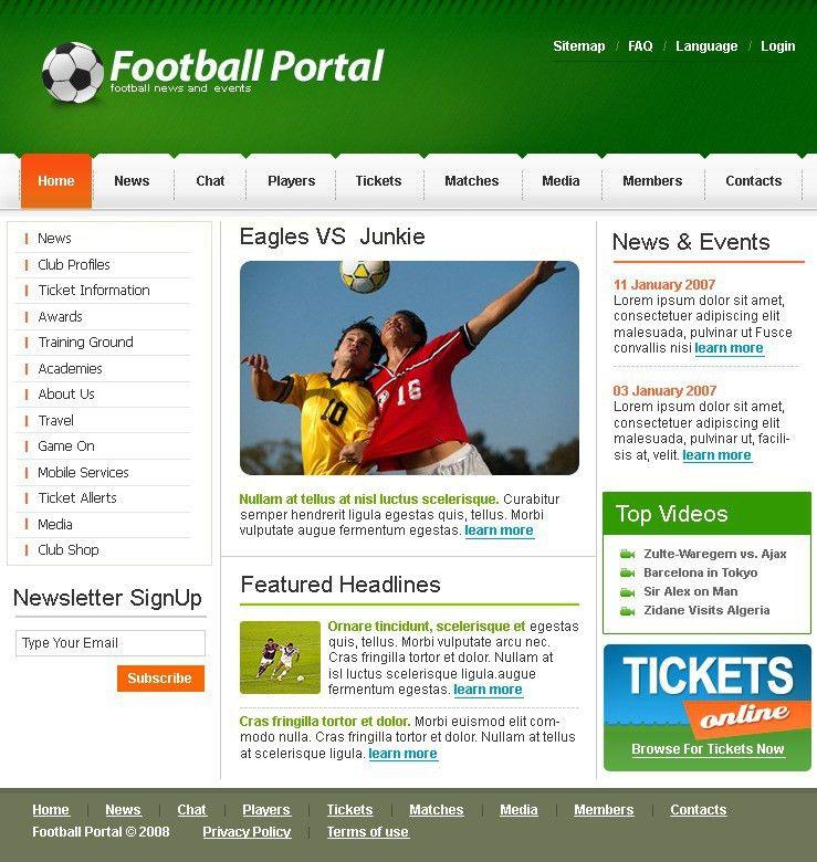 Website Template #19770 Football Portal Overview Custom Website ...