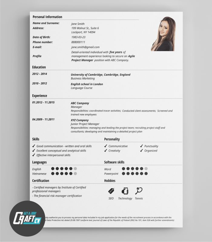 Classic CV Template | Clean & Fresh Template | Free CV Example ...