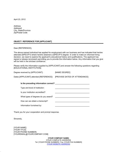 Educational Reference Check Letter - Template & Sample Form ...