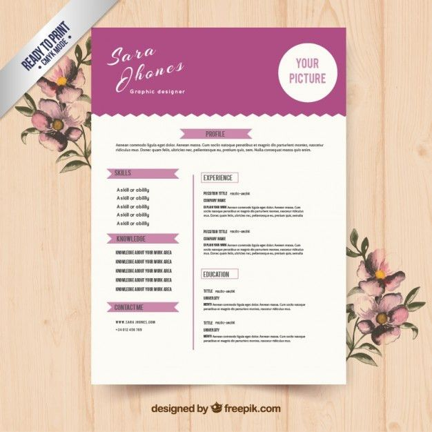 Cute purple resume template Vector | Free Download