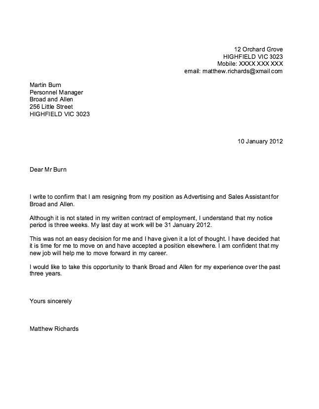 Sample of Airline Pilot Resignation Letter - http://resumesdesign ...
