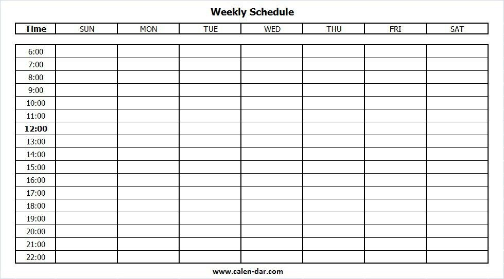 Blank Weekly Schedule Template with Times | Weekly Calendar Planner