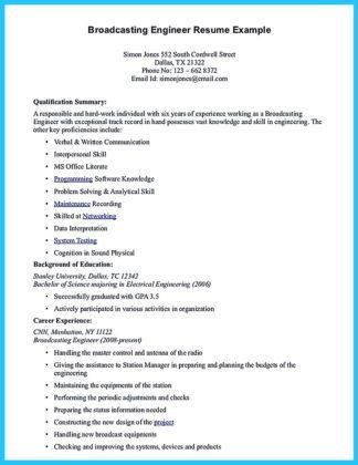 sample broadcast technician resume assistant engineer trainee