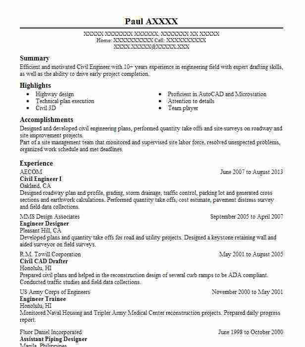 Best Civil Engineer Resume Example | LiveCareer