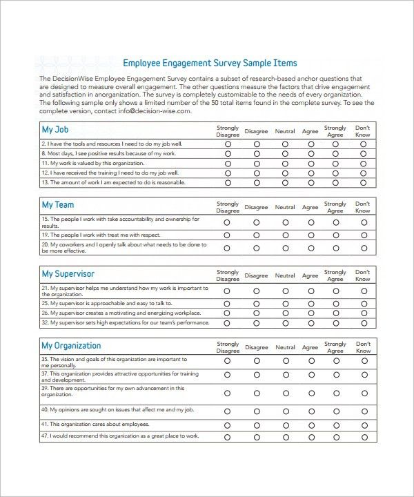 Employee Engagement Survey Template Employee Engagement Survey