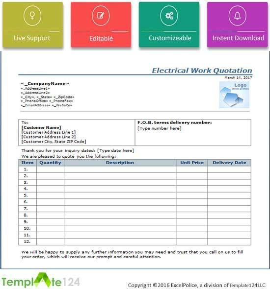 Electrical Work Quotation Format {Word-Excel} | Template124