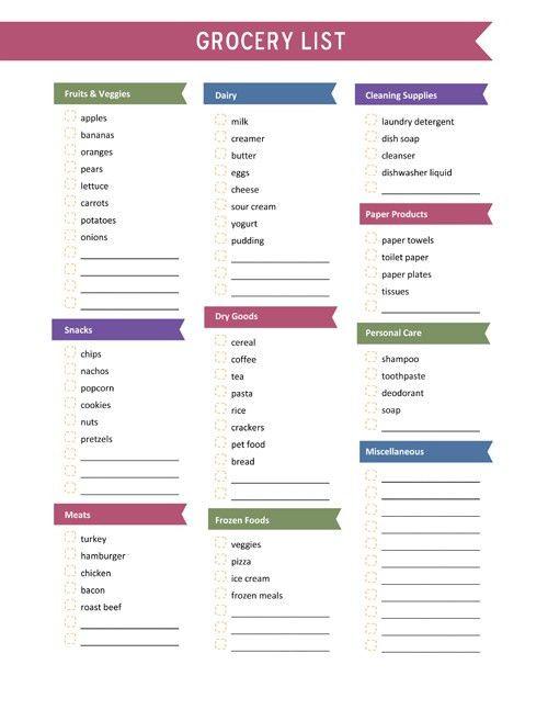 Free Printable Grocery List - Karen Cookie Jar
