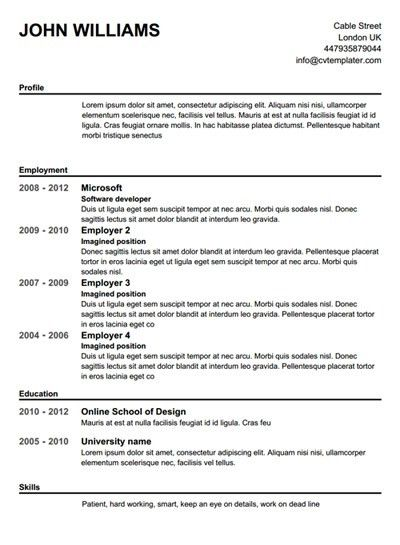 Resumes Templates Word. Free Resume Template Microsoft Word 7 Free ...