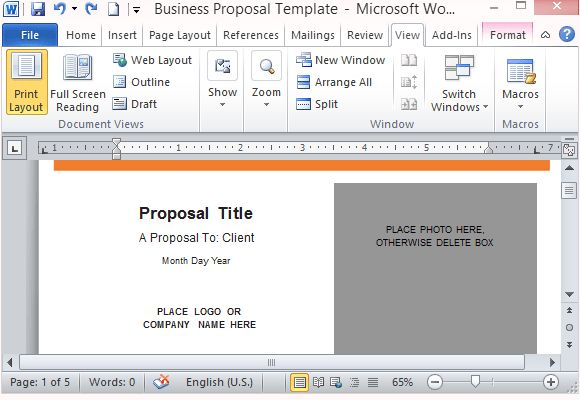 Modern UI Business Proposal Template for Word
