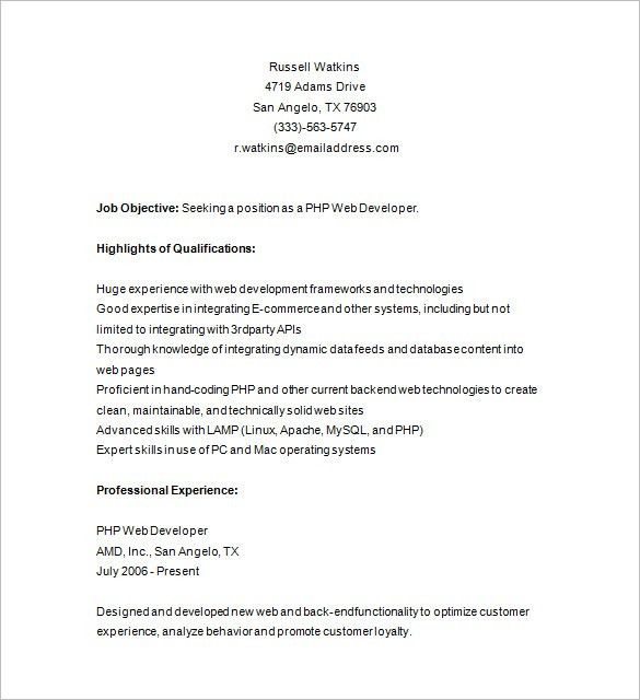 PHP Developer Resume Template – 19+ Free Samples, Examples, Format ...