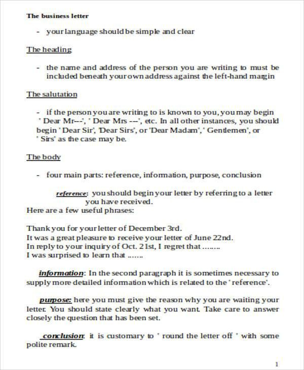Sample Business Letter Template Word - 7+ Examples in Word, PDF