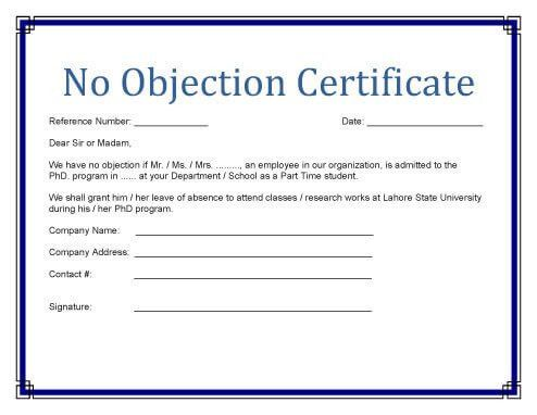 No Objection Certificate Templates [property, study]