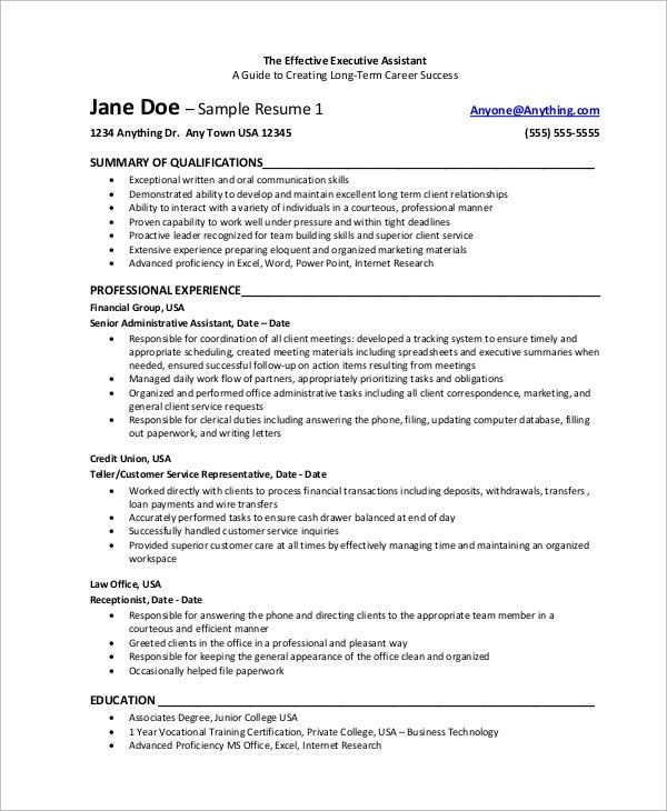 sample resume of executive assistant