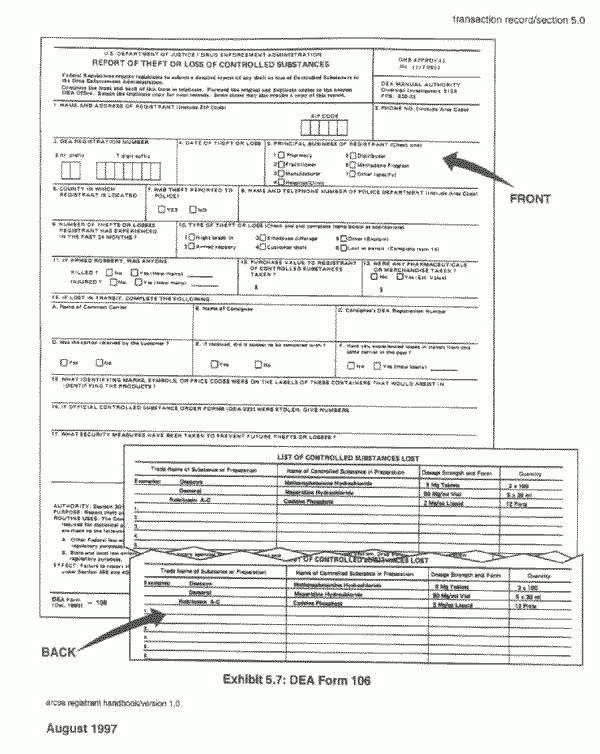 ARCOS Registrant Handbook - Section 5.0 - Transaction Record