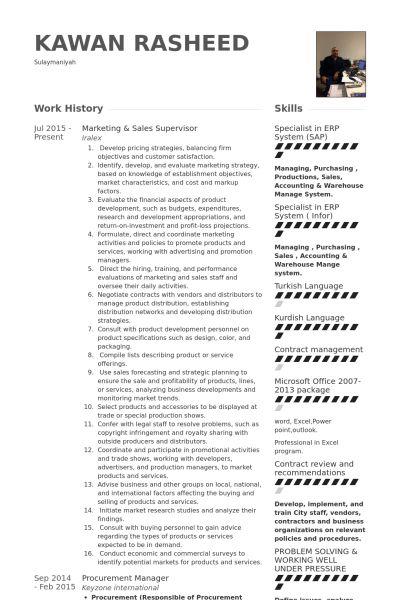 Sales Supervisor Resume samples - VisualCV resume samples database