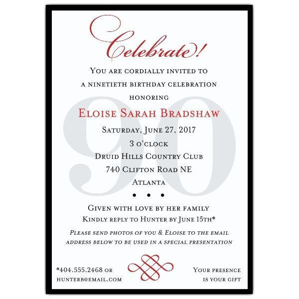 Best 25+ 90th birthday invitations ideas only on Pinterest | 80th ...