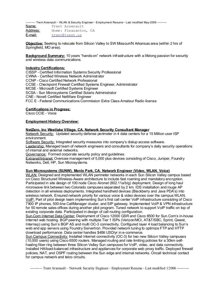 Cyber Security Engineer Resume Network Security Engineer Resume ...