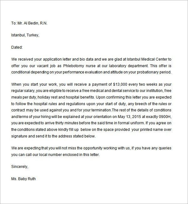 Employment Offer Letter - 6 Free Doc Download