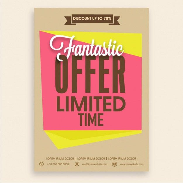 Fantastic sale flyer template with yellow and pink shapes Vector ...