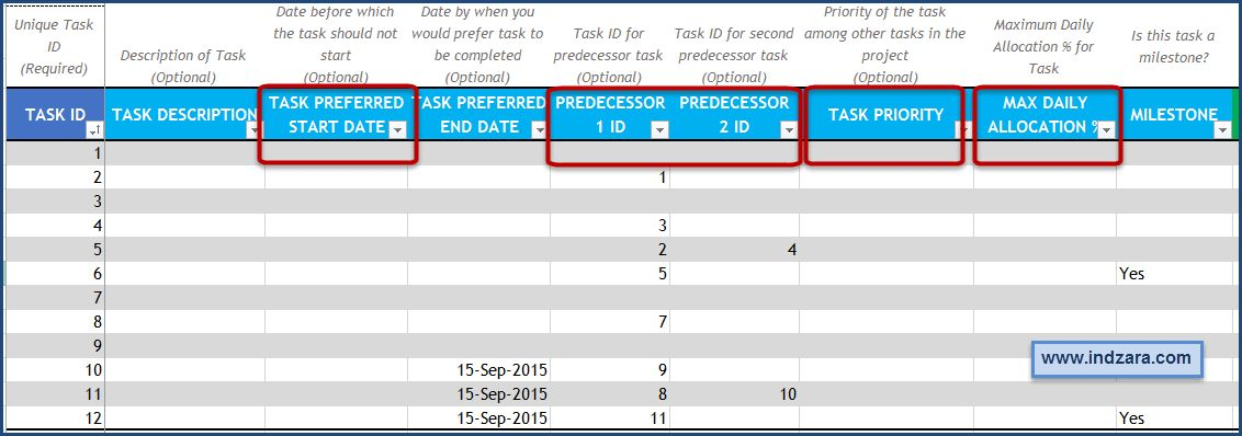 project management task template excel