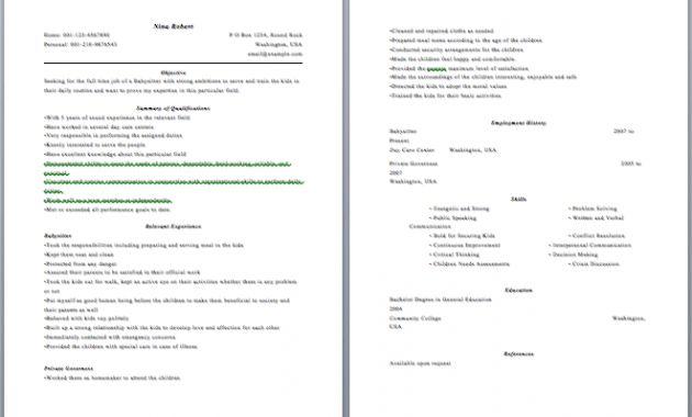 babysitting resume samples. babysitting resume samples. nanny ...