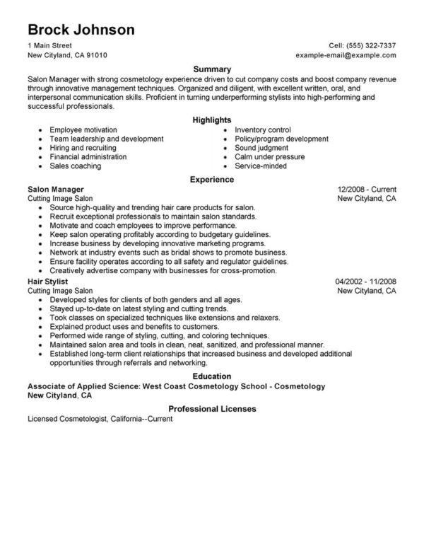 Outstanding Hair Stylist and Salon Manager Resume Example with ...