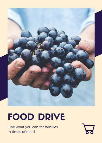 Peach and Navy Blue Icons Food Drive Flyer - Templates by Canva