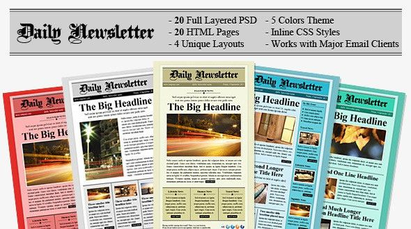 Daily Newsletter HTML Email Template by berber | ThemeForest
