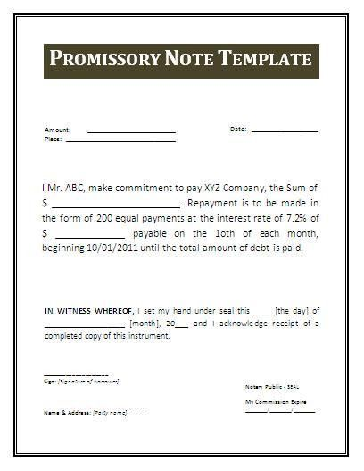 Promissory Note Template | Free Business Templates