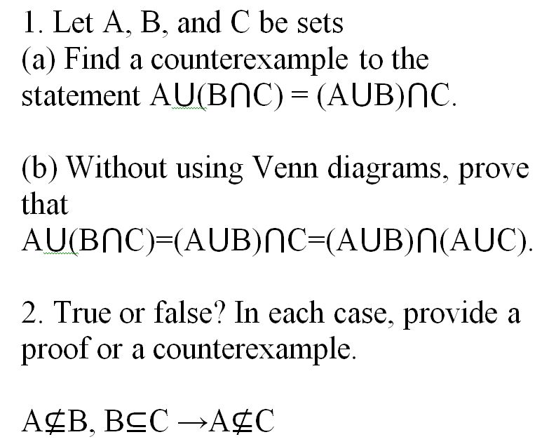 Let A, B, And C Be Sets (a) Find A Counterexample ... | Chegg.com