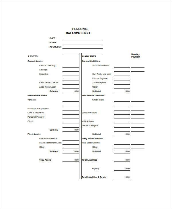 Balance Sheet Example - 8+ Samples in Word, PDF