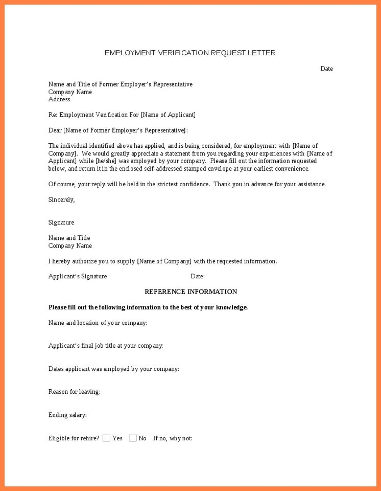 4+ request for employment verification letter sample | Life ...