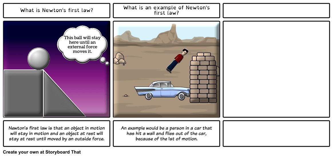 Newton's First Law of Motion Storyboard by sarahponder