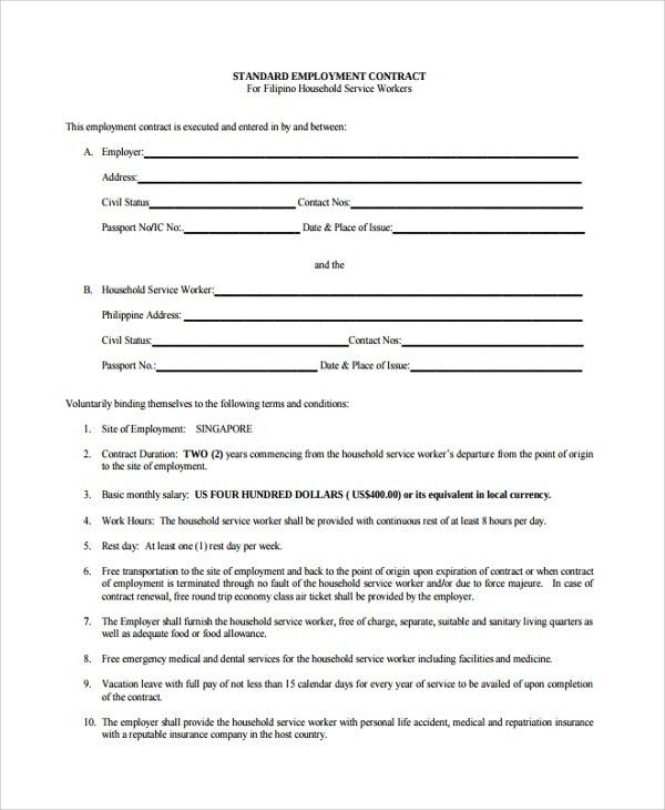 Sample Employment Contract Form - 6+ Free Documents Download in ...