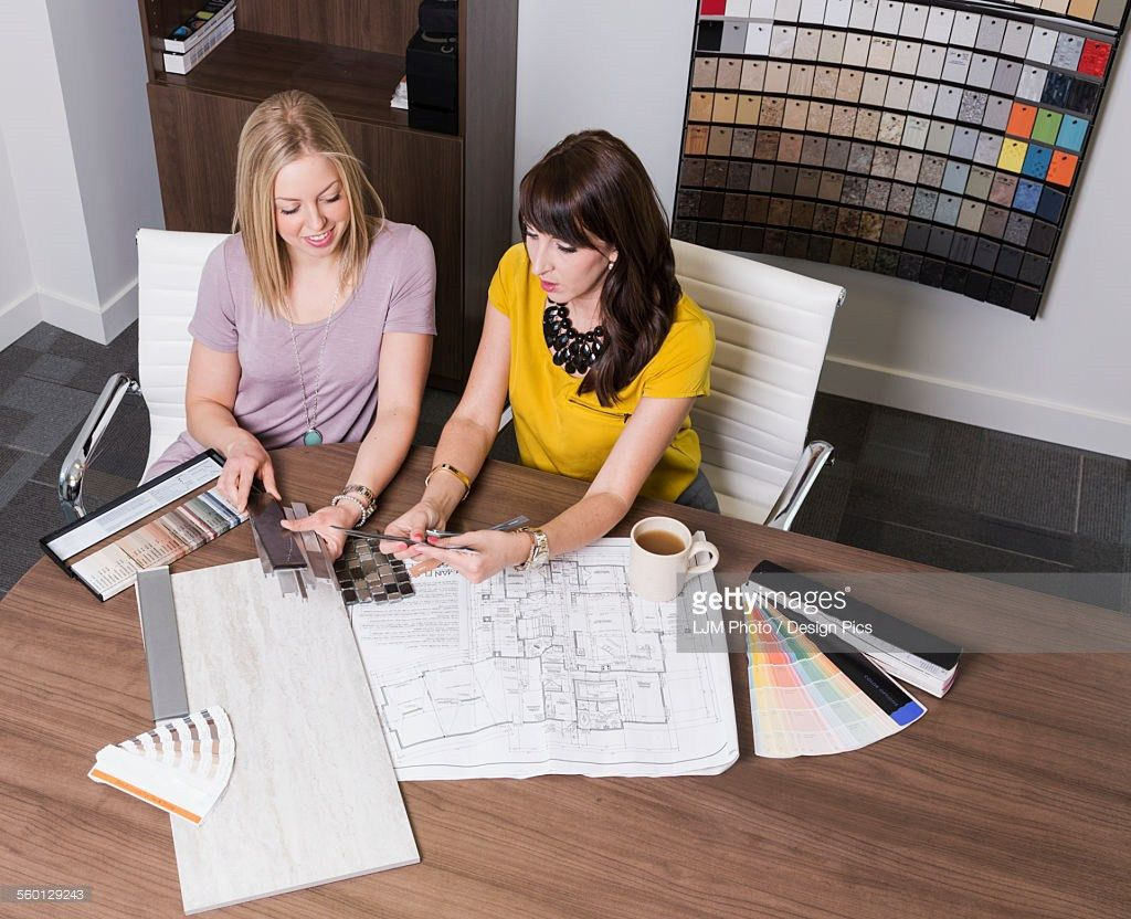 Design Consultant And Interior Designer Selecting Paint And Tile ...