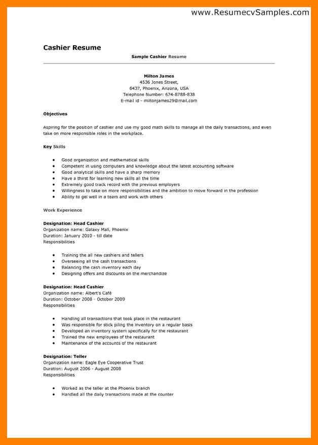 Restaurant Cashier Experience Resume. cashier job description bank ...
